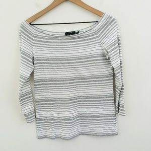 Theory Gray Stripe Boat Neck 3/4 Sleeve Top